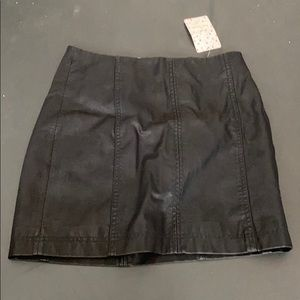 Free people black leather skirt brand new
